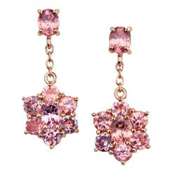 Ladies Rose Gold Vermeil Garnet Earrings