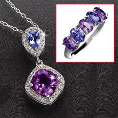 Tanzanite & Amethyst Anniversary Necklace & Ring Set