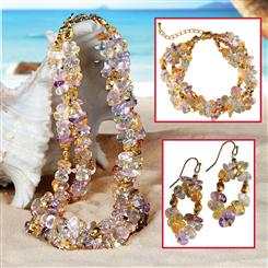 Tropical Cool Toursade Necklace, Bracelet & Earrings Set