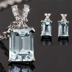 Aquamarine Ice Pendant, Chain & Earrings Set