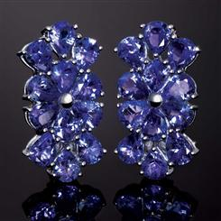 10K White Gold Saintpaulia Tanzanite Earrings