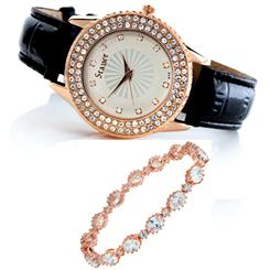 Sirene Watch and Rose Gold-finished Rivieré Bracelet Set