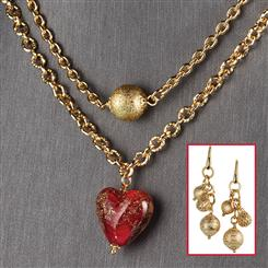 Heart That Waited Necklace & Earrings Set