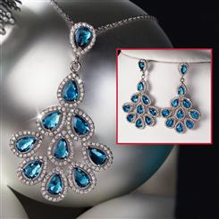 Diamond<em>Aura</em>&reg; Tail Feather Necklace and Earrings Set