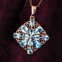 Blue Topaz Snowflake Necklace