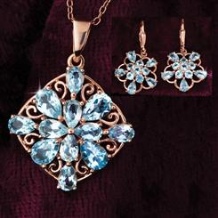 Blue Topaz Snowflake Necklace & Earrings Set