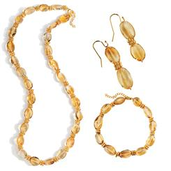 Golden Hour Citrine Necklace, Bracelet & Earrings Set