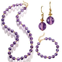 Royal Amethyst Necklace, Bracelet & Earrings Set