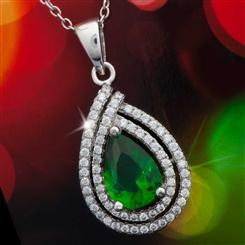 Diamond<em>Aura</em>&reg; Celebration Emerald Green Pendant