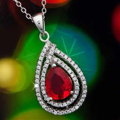 Diamond<em>Aura</em>&reg; Celebration Red Ruby Pendant