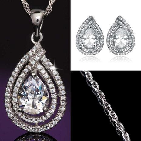 DiamondAura Anjou Tear Drop Necklace & Earring Set