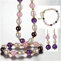 Pearl Party Necklace, Bracelet & Earrings Set