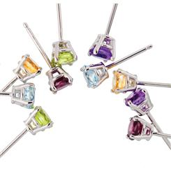 Ear Candy Gemstone Stud Earrings Collection 5 Pairs