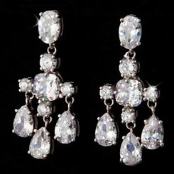 Chandelier Earrings with Platinum Finish