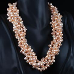 Blushing Pearl Torsade Necklace