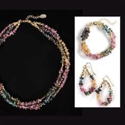 Chameleon Tourmaline Necklace, Bracelet & Earrings Set