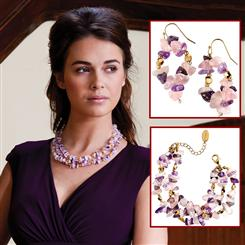 Outré Amethyst Necklace, Bracelet & Earrings Set