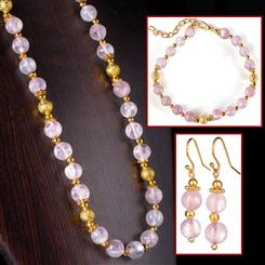 Pastel Pink Amethyst Necklace, Bracelet & Earrings Set