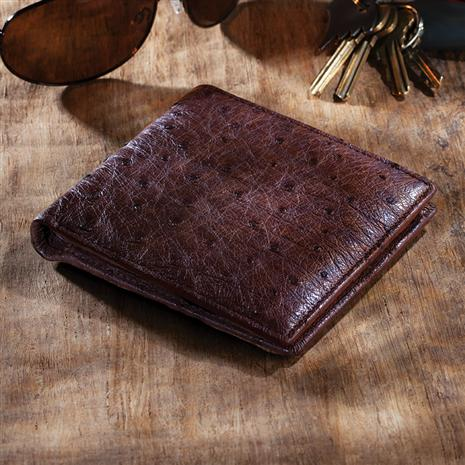 Ostrich Leather Wallet Brown