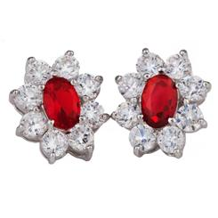 Diamond<em>Aura</em>&reg; Red Blossom Earrings