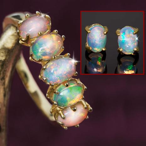 Five-Star Opal Anniversary Ring & Earrings