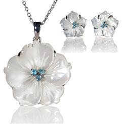 Island Flower Necklace & Earrings Set
