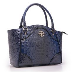 Crocodile Embossed Blue Handbag