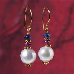 Ruby, Sapphire and Pearl Earrings