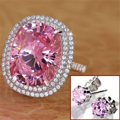 Pink Perfection Diamond<em>Aura</em>&reg; Ring & FREE Earrings Set