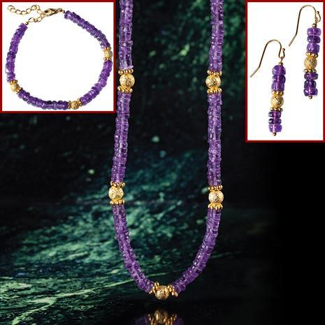 Amethyst Gallery Necklace, Bracelet & Earrings Set