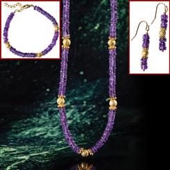 Amethyst Gallery Necklace, Bracelet & Earrings Set