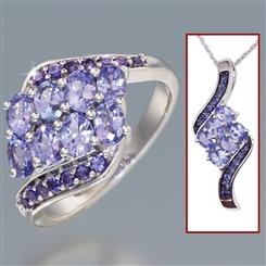 Tanzanite Fusion Ring & Necklace Set