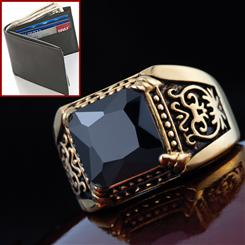 Gallantry Onyx Mens Ring & FREE Joseph Abboud Passcase Wallet