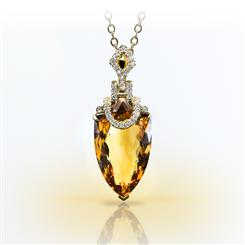 18K Gold Citrine and Diamond Pendant