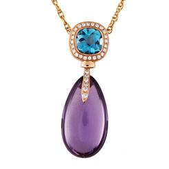 18K Rose Gold Amethyst, London Blue Topaz, And Diamond Raindrop Necklace