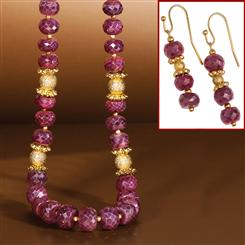 Desire Ruby Necklace & Earrings Set