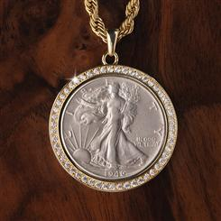 Genuine U.S. Walking Liberty Silver Half Dollar Coin Pendant