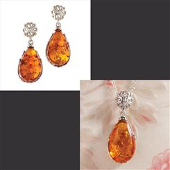 Teardrop Amber Collection Necklace and Earrings