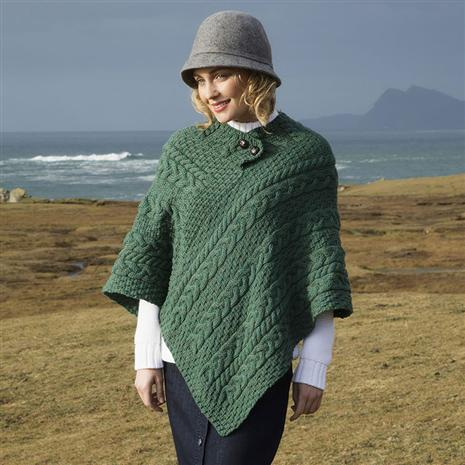 Ladies' Irish Wool Poncho (Green)