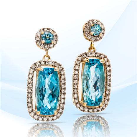 10K Yellow Gold Swiss Blue Topaz and Diamond Earrings