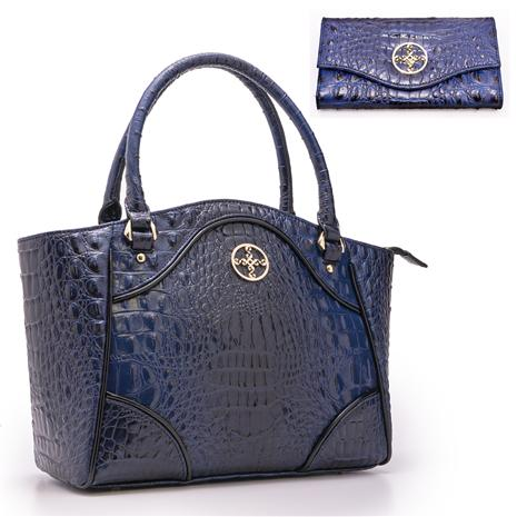 Avalon Crocodile-Embossed Handbag And Wallet Set (blue)