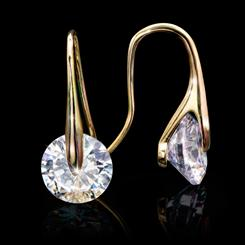 DiamondAura Solitaire Drop Earrings - Gold Finished