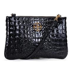 Sloane Crocodile-Embossed Clutch (Black)