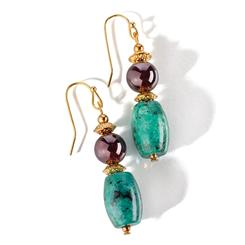Nefertiti Chrysocolla & Garnet Earrings