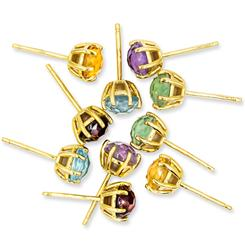Quintet Ear Candy Genuine Gemstone Stud Earrings (5 Pairs)