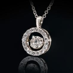 Ladies 14kt White Gold Dancing Diamond Pendant (0.25ct center stone)