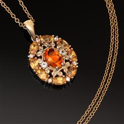 Fire Opal and Spessartite Pendant