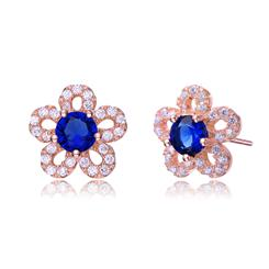Rose Gold Plated Blue DiamondAura Flower Earrings