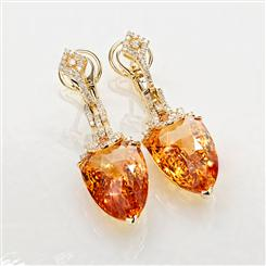 18K Gold Madiera Citrine & Diamond Earrings