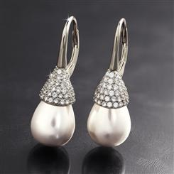 Sterling Silver Drop Pearl Earrings